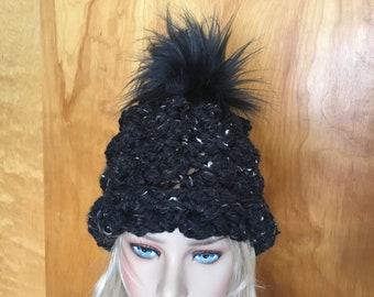 Chunky crochet Jumbo Black Faux Fur Pom Pom Hat Thick Slouch Black Fleck bf1