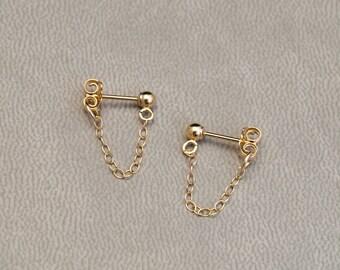 Gold Filled Chain Earrings - Gold Front to Back Earrings - Dainty Minimalist Studs - Chain Drop Earrings - Simple Earrings - Gifts for Women