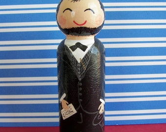 Hand Painted Love Boxes President Abraham Lincoln Portrait Peg Doll Wood