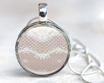 Lace Pendant Necklace-  Lace necklace, Lace photo Pendant, Lace Glass Picture Pendant (LPN1)