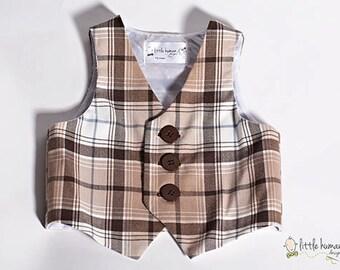 Plaid Boy's Vest - Brown/Tan Cotton Plaid Vest, Ringbearer Vest, Wedding Vest, Baby Birthday Vest, Baptism Vest, Baby Boy Plaid Vest