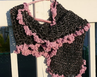 black and pink soft hook shawl wrap