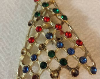 Teachers gift. Christmas tree brooch.