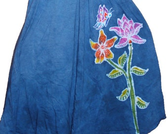 Women's Hand Painted Batik Lily with Butterfly Twisted Tank Dress