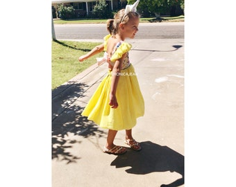FLASH SALE Princess Belle beauty and the beast Baby girl toddler yellow and pink party costume tutu cake smash high low dress