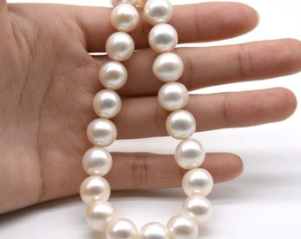Large pearls, 11-12mm, white near round cultured freshwater pearls for making jewelry, big real natural pearls, big hole available, FR810-WS