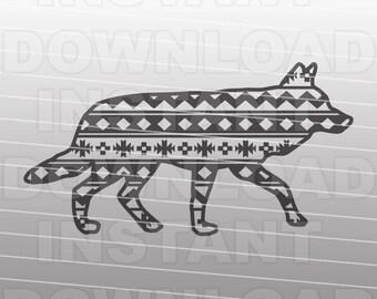 Southwest Pattern Coyote SVG File,Southwestern SVG,Desert SVG -Vector Clip Art Commercial & Personal Use-Cricut,Cameo,Silhouette,Cut File