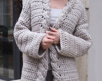 Crochet Pattern cable women cardigan, bulky coat ,  Very Winter sweater, clothing, Instant download
