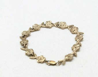 Sterling Silver Bracelet Flowers 925 Floral Links Estate Vintage Jewelry .925 Sterling Silver Links Bracelet 8.6 g