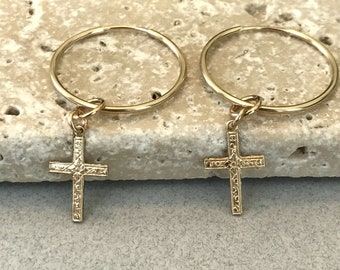 Unisex 100% 14k Gold Filled Hoop Cross Earrings, Endless Hoops, Celebrity Inspired, Classic Design