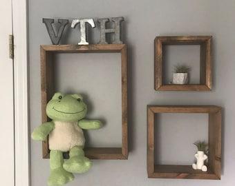 Rustic 3D Shadowbox Wood Shelving (Individual and Sets of 3) | Cube Square Rectangle Diamond Wooden Box Shelves Nursery Decor Shelves