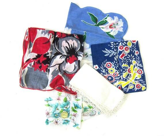 Floral Hankies Collection of 5 Ladies Handkerchiefs Vintage Pink Blue Handkerchief in Flowers Lot of Hankies women's gift Wedding Decor