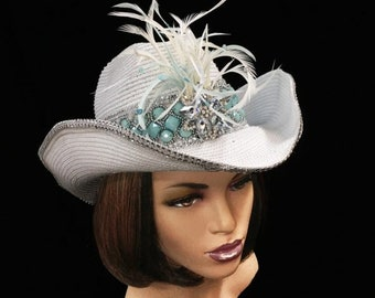 White and Aqua Feather cowgirl hat