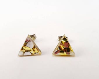 Triangle laser cut acrylic studs - gold and silver studs - acrylic laser cut studs - acrylic earrings