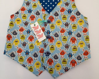 SALE Reversible Boys Monster Waistcoat. Ages 0-3 Years. 100% Cotton.