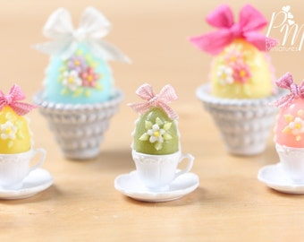 Candy Easter Egg Decorated with Blossoms in Egg Cup - Green Egg - Miniature Food in 12th Scale