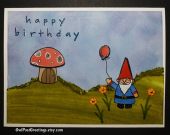 Gnome birthday card etsy happy birthday gnome handmade greeting card inside for a friend like gnome one else bookmarktalkfo Image collections