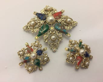 Sarah Coventry Galaxy Brooch & Earring Set Vintage Lot 829