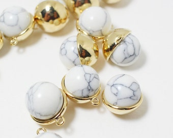 P0465/Anti-Tarnished Gold Plating Over Brass+Howlite/Circle Cap Howlite Pendant/11mm/2pcs
