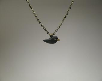 Small Blackbird Necklace - Polymer Clay Jewelry - Crow Jewelry