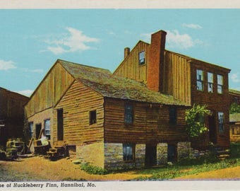 Antique Linen Postcard of the Home of Huckleberry Finn, Hannibal Missouri Postcard, Historical Postcard, Ephemera, Mark Twain, Tom Sawyer