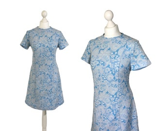 Vintage Paisley Dress | 1970's Diolen Loft Fashion | Blue Print Dress | Pale Blue And Grey | A-Line Dress | UK 12