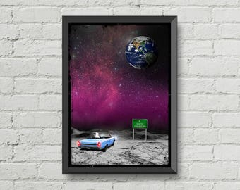 Looking at earth,digital print,art,space,astronaut,galaxy,artwork,handmade,wall decor,home decor