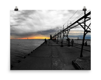 Lake Michigan Pier photo paper poster