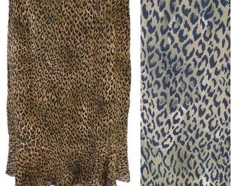 Vintage Chico's Design Skirt Women Size 1 M(8) Brown Sheer Leopard Animal Print Rayon