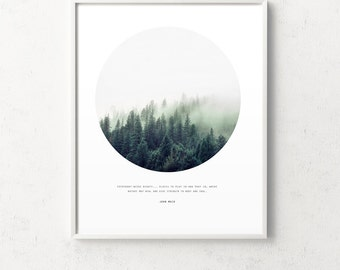 Forest circle photo, john muir quote, forest print, forest photography, forest quote, forest fog, inspirational, photo print, wilderness art