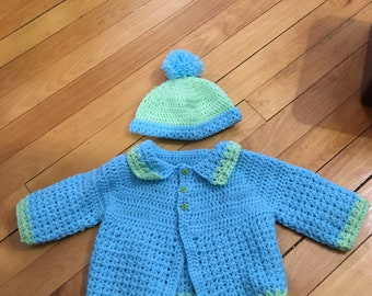 Blue and green sweater and hat set