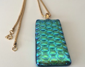 Swimming Pool Blue Dichroic Fused Glass and Gold Plated Chain Pendant Necklace