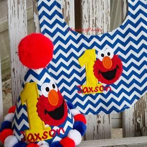 Boys 1st Birthday Hat -  Elmo Birthday Party - Elmo 1st Birthday Hat & Bib Set - Chevron Party Hat - Personalized Elmo Party Hat