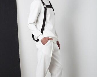 Mens sweater Mens white sweater Mens turtleneck sweater Mens white turtleneck Mens harness Mens clothing Minimalist clothing Mens neoprene