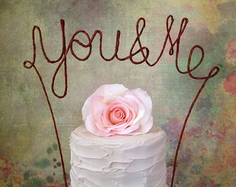 YOU & ME Rustic Wedding Cake Topper, Rustic Wedding Cake Decoration,Bridal Shower,Anniversary,Engagement Party Decoration,Rustic Centerpeice
