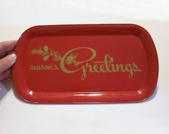 Vintage Christmas Advertising Tray Seasons Greetings