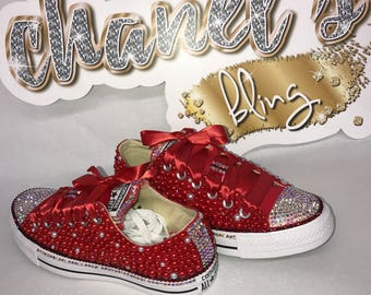 WOMEN's Red/White Bedazzle Bling All Star Chuck Taylors Sneakers Low-Top