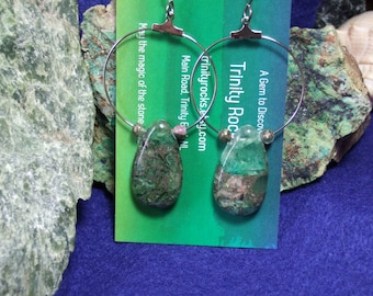 Fluorite Fluorspar Teardrop Hoop Earrings Earings with Titanium Ear Wires Made in Newfoundland Green and Metallic