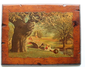 Vintage Wooden Lacquered Decoupage Paul Detlefsen Spring Blossoms Print Wall Art 1968