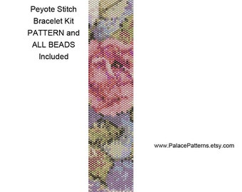 Claire's Rose Bead Loom or Peyote Stitch Bracelet KIT P2 - Peyote Stitch or Bead Loom Pattern and Beads - Delica Beads Included