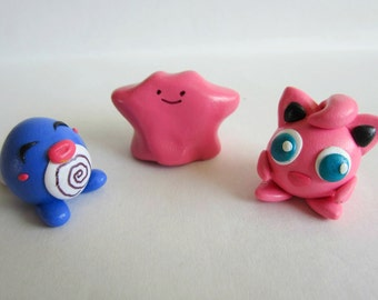 Polymer Clay Pokemon Sculpture (Poliwag, Jigglypuff, Ditto) // Cute Miniature Pokemon // Mini Pokemon Sculptures