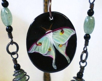 Luna Moth Pendant, Hand Painted Luna Moth Necklace, Green Moth Jewelry, Nature Jewelry, Green Aventurine and Antiqued Copper Necklace