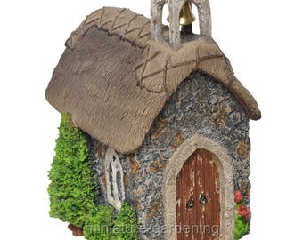 Church with Thatched Roof for Miniature Garden, Fairy Garden