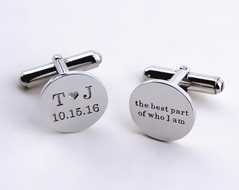 Personalized Groom Wedding Cufflinks,Date and Initials Cufflinks,Custom Engraved Cufflinks,Wedding Favors,Engagement Gift C014