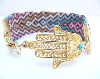 Golden Hamsa Friendship Bracelet