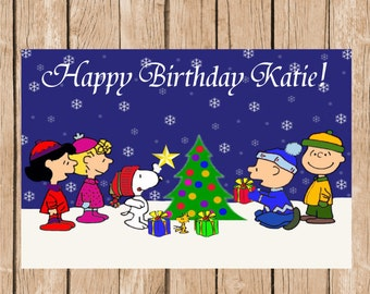 Charlie Brown Christmas Vinyl Banner (Birthday or Merry Christmas)