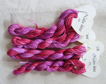 294 Nuku Hiva - hand dyed variegated stranded cotton by Fils a Soso, Made in France.  Pink hand dyed variegated thread. Cross stitch yarn.