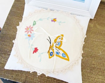 Rustic Chic Ring Bearer Pillow - Wedding Bridal Cushion Shabby - White Cream Floral Butterfly Vintage Doily