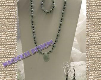 SEA FOAM - Necklace, Earrings and Bracelet