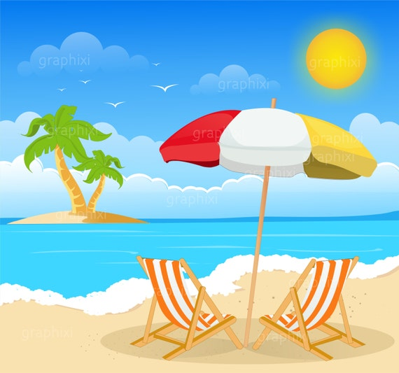 Clipart beach beach image summer holiday clipart
